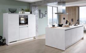 Einbauküche Riva, Weißbeton-Nachbildung, inklusive Elektrogeräte, inklusive AEG Geschirrspüler