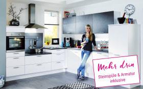 Einbauküche Fashion in Lack weiss, Miele Backofen