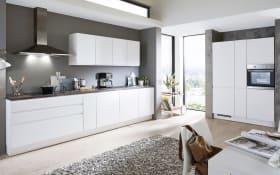 Einbauküche Inline in alpinweiß Lack, AEG-Geschirrspüler