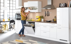 Einbauküche Focus in alpinweiß Ultrahochglanz, Miele-Geschirrspüler
