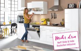 Einbauküche Focus in alpinweiß Ultrahochglanz, Neff Slide & Hide Backofen