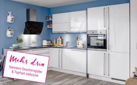 Einbauküche Flash in weiß, Siemens-Geschirrspüler