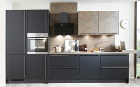 Einbauküche Touch in supermatt schwarz, Siemens-Geschirrspüler