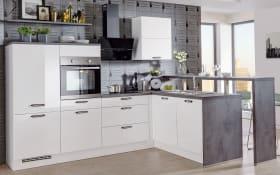 Marken-Einbauküche Focus in alpinweiß, Miele-Geschirrspüler