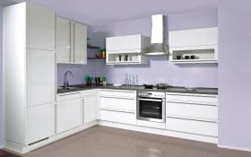Einbauküche Flash, Hochglanz Lacklaminat magnolia, inklusive Elektrogeräte, inklusive Bauknecht Geschirrspüler