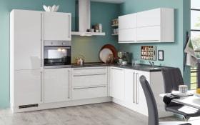 Einbauküche Flash in Lacklaminat weiß, Miele-Geschirrspüler