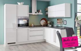 Einbauküche Flash in Lacklaminat weiß, Siemens-Geschirrspüler