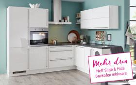 Einbauküche Flash in Lacklaminat weiß, Neff Slide & Hide Backofen
