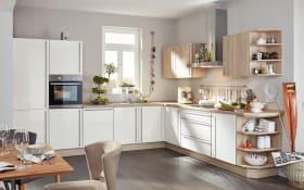 Marken-Einbauküche Flash in magnolia, AEG-Geschirrspüler