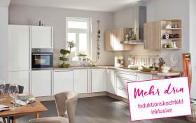 Marken-Einbauküche Flash in magnolia, Neff Induktionskochfeld