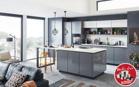 Einbauküche Lux in Lack schiefergrau, Privileg Geschirrspüler RIE2C19