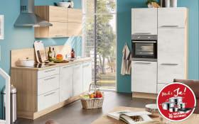 Marken-Einbauküche Riva in Weißbeton-Optik, Leonard-Geschirrspüler LV1526