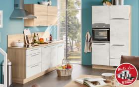 Marken-Einbauküche Riva in Weißbeton-Optik, Neff-Geschirrspüler