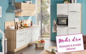 Marken-Einbauküche Riva in weiß, Miele Backofen