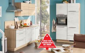 Marken-Einbauküche Riva in Weißbeton-Optik, Siemens-Geschirrspüler