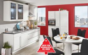 Marken-Einbauküche Flash in weiß, Siemens-Geschirrspüler