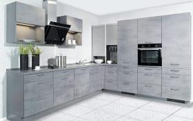 Einbauküche Riva, Beton schiefergrau Design, inklusive Elektrogeräte