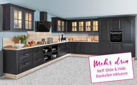 Einbauküche Sylt in schwarz, Neff Slide & Hide Backofen