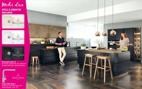 Einbauküche Touch in schwarz, Marken-Spüle