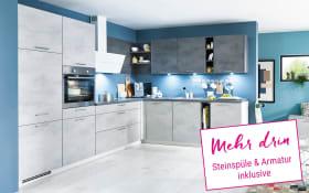 Einbauküche Riva in weiß/grau