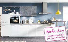 Einbauküche Speed in alpinweiß, Neff Induktionskochfeld