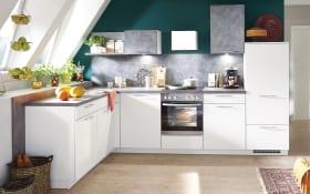 Einbauküche Fashion, seidengrau matt Lack, inklusive Elektrogeräte, inklusive AEG Geschirrspüler