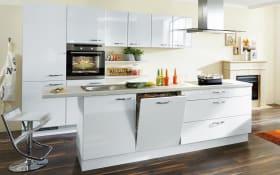 Einbauküche Lux in Lack weiß Hochglanz, Siemens-Geschirrspüler SN614X00AE
