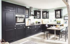 Einbauküche Sylt, schwarz, inklusive Miele Backofen, inklusive AEG Geschirrspüler