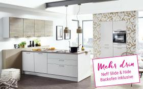 Einbauküche Touch in seidengrau, Neff Slide & Hide Backofen