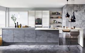 Einbauküche Riva in Beton-Schiefergrau, Neff-Geschirrspüler