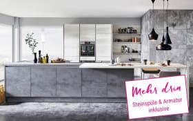 Einbauküche Riva in Beton-Schiefergrau, Miele Backofen