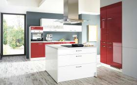 Einbauküche Flash in rot Hochglanz