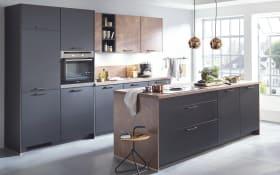 Einbauküche Touch in schwarz seidenmatt, Miele Hochbau-Backofen H22661B