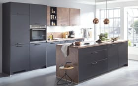 Einbauküche Touch, Lacklaminat supermatt schwarz,  inklusive Miele Backofen und Siemens-Geschirrspüler