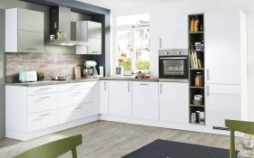 Einbauküche Focus, alpinweiß Lack, inklsuive Miele Backofen, inklusive Elektrogeräte