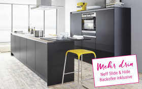 Einbauküche Touch in schwarz supermatt, Neff Slide & Hide Backofen
