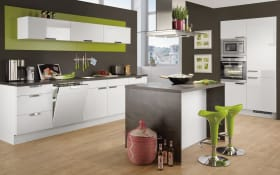 Einbauküche Focus, Ultrahochglanz alpinweiß, inklusive Elektrogeräte, inklusive AEG Geschirrspüler