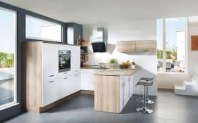 Einbauküche Flash, magnolie Hochglanz, inklusive Elektrogeräte, inklusive AEG Geschirrspüler