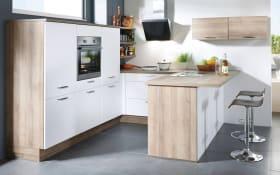 Einbauküche Flash, magnolie Hochglanz, inklusive Elektrogeräte, inklusive Siemens Geschirrspüler