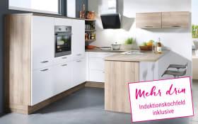 Einbauküche Flash in magnolie Hochglanz, Neff Induktionskochfeld