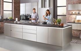 Einbauküche Nobilia Inbox in stahl, Privileg-Geschirrspüler