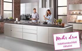 Einbauküche Nobilia Inbox in stahl, Neff Induktionskochfeld