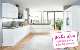Einbauküche Flash in alpinweiß Hochglanz, Neff Slide & Hide Backofen