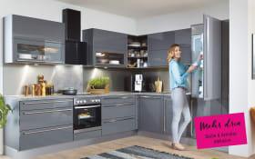 Einbauküche Lux in schiefergrau Hochglanz, Siemens-Geschirrspüler