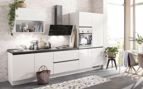 Einbauküche Flash, alpinweiß Hochglanz, inklusive Elektrogeräte, inklusive Neff Geschirrspüler