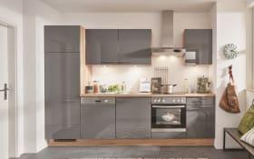 Einbauküche Flash 648 in Hochglanz schiefergrau, Leonard-Geschirrspüler