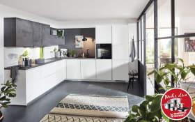 Einbauküche Fashion in Lack weiß, Siemens Geschirrspüler SN614X00AE