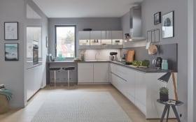 Einbauküche Flash in seidengrau Laklaminat Hochglanz, inklusive Elektrogeräte, inklusive Miele Backofen