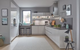Einbauküche Flash in seidengrau Hochglanz, AEG Elektro-Geräte