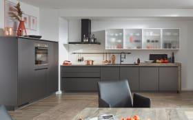 Einbauküche Touch, Lacklaminat Hochglanz schiefergrau, inklusive Privileg Elektrogeräte
